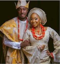 Свадебные ювелирные изделия онлайн-Original Coral African Bridal Costume Party Jewelry Bride and Groom Real Coral Beads Nigerian Wedding Couple Jewelry Sets ABH786