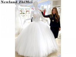 Canada Superbe robe de mariée robe de bal sexy Voir à travers les robes de mariée en tulle de cristal épaule Custom Made Offre