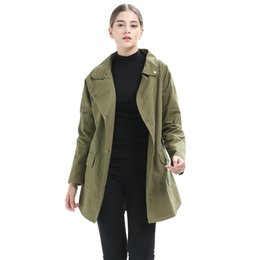 151018b54b 2018 Autumn Women's Army Green Trench Coat Long Sleeve Waterfall Collar  Pocket Windbreaker Loose Female Straight Outwear 6Q1975