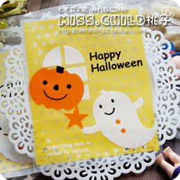 Wholesale Halloween Candy Cookies - Wholesale- 50pcs lot 12*14.4cm PE Happy Halloween pumpkin scrub pocket lovely stars Gift Packaging Bags Candy and Cookie Packing bag B011