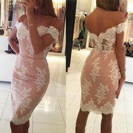 Wholesale knee length fitted cocktail dress - 2018 Short Cocktail Dresses Lace Appliques Off the Shoulder Fitted Knee Length Custom Made Party Gowns with Sash Evening Gowns Illusion Back