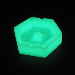 glow in the dark hexagon posacenere in silicone posacenere resistenti al calore facile da pulire posacenere in silicone per pulire facilmente i portacenere da
