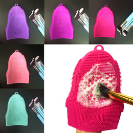 Wholesale beauty mats - 2pcs lot Glove Silicone Scrubber Mat with Hook Textures Pinceles Washing Pad Makeup Brush Cleaning Mat Beauty Tools Brush Cleaner