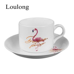 Wholesale Cup Coffee Saucer - Bone China Ceramics Nordic Flamingo Flamingo Coffee Mugs Suit Concise Household Work Office Teacup Cup Dish Saucer Spoon Sets