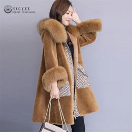 2019 зима зимой плюс размер 2018 роскошные взлетно-посадочная полоса женщины зима Treddy куртка пушистый искусственного меха пальто длинный плюс размер лоскутное с капюшоном меховой воротник пальто OKD568 скидка зима зимой плюс размер