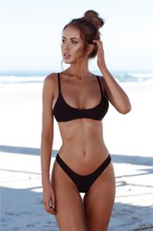 Wholesale Hot Sexy Chest - Hot Women SwimWear Two-piece Suit Pure Color Six Color Bikini Sexy Solid Natrual Color Tight Backless With Chest Pad Without Steel Support