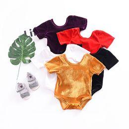 Primavera online-Baby Girls Backless Bow Mamelucos Tejido con cuello en O Shinning Algodón Material suave Mono de manga corta con botones Infant Toddler Spring Autum