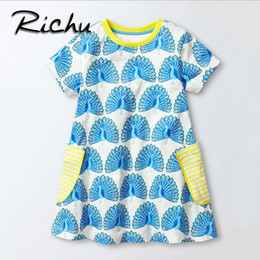 Wholesale Clothing For Little Girls - Richu dress for girls 6 years princess dresses for little girls costume for kids princess cotton short sleeve baby clothes tops
