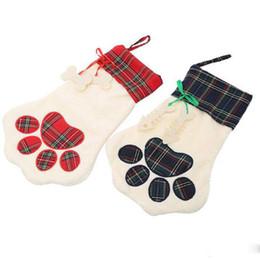 2018 Nuova calza di vendita calda Sherpa calza Cane e zampa di gatto stock 2 colori stock regalo di Natale borse decorazione da grandi calze natali all'ingrosso fornitori