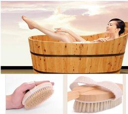 Wholesale Wooden Massager - Fashion Hot Natural Long Wooden Bristle Body Brush Massager Bath Shower Back Spa Scrubber