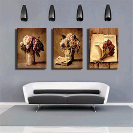 Wholesale Flower Vases Oil Painting - Frameless Canvas Print Art Oil Painting Modular Home Decoration Still Life Vase Flowers Picture for Room Wall decor 3 Panel