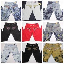 7281d8d13930 Mens fashion brand robin Jeans Crystal Studs Denim Pants Designer washed  distressed classic biker straight Trousers JS34 evisu on sale