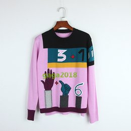 Розовый свитер онлайн-Высокое качество шерсти женщины шею пуловер свободные свитера цифровой ручной абстрактный жаккард розовый свитер топы трикотаж блузка рубашка платье
