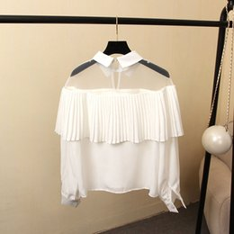 Wholesale Peter Pan Collar Chiffon Top - Women's Blouses & Shirts High quality brand new hot sale! Sexy perspective Tops Peter pan Collar pleated long sleeved Chiffon Shirts Women B