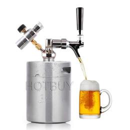 Wholesale pressure faucet - 2L 4L Stainless Steel 304 Beer Mini Keg Homebrew Keg CO2 Regulator Air pressure Faucet Can Red Wine Brewing Bottle Beer Growler #4498