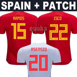 Wholesale spain national team - 2018 World Cup Spain ASENSIO Soccer Jerseys 18 19 MORATA ISCO A.INIESTA national team football shirts free patch