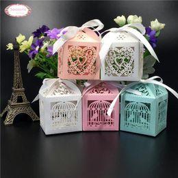 Wholesale Laser Cut Boxes Designs - Wholesale-50pcs Mult Designs Laser Cut Candy Chocolate Box Packaging Wedding Favors Decoration Love Heart Bird Cage Bridge Groom Gifts