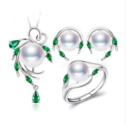 Wholesale emerald 925 silver rings - New 925 Sterling Silver natural pearl jewelry sets for women,Emerald stud earrings,pendant necklace engagement ring set