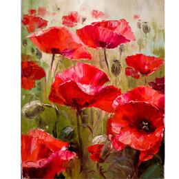 2019 afrikanische kunst gemälde frauen Diy Malen nach Zahlen Kit mit Acrylfarben Pinsel Rote Blumen Malen auf Leinwand mit oder ohne Holzrahmen für Erwachsene Anfänger