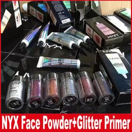 Wholesale cream color eyeshadow - NYX Glitter Primer Cream Concealer Cream NYX Glitter Face and Body Shimmer Powder 6 color Eyeshadow Powder