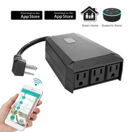 Wholesale Plug Remote Control - Outdoor Wifi Smart Plug Smart Socket Compatible Alexa Google Assistant IP44 Waterproof WiFi Outlet, Remote Wireless Control Anywhere