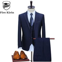 Wholesale Korean Wedding Suits For Men - Fire Kirin Man Suit Slim Fit 2017 New Arrival Blue Black Wedding Suit For Men Korean Fashion 3 Piece Mens Formal Suits Q350