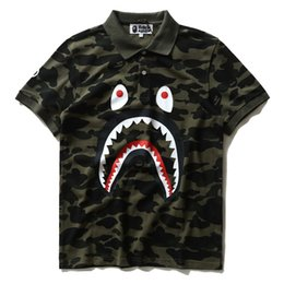 Wholesale Camo Collars - New Men's Tide Brand Shark Camo T-shirt Men Women Wear Lapel Cotton Short Sleeved T-shirts Free Shipping