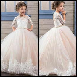 Wholesale Cheap Little Dresses - Princess Ball Gown First Communion Dresses with 3 4 Long Sleeve Sheer Jewel Neck Lace Beads Cheap Birthday Party Gowns For Little Girl