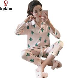 Wholesale Ladies Pajamas L - 2017 New Spring Long-sleeve Sexy Faux Silk Fashion Pink Cactus Women Pajamas Sets Simple Soft Ladies Homewear Pijamas Set SY743