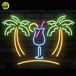 Wholesale Neon Drinks - Neon Sign Palm Tree with Cup Neon Bulb Sign Drink Handcrafted Beer Pub Decorate Windows Light Advertise Art Lamp