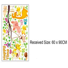 Wholesale Sticker Duck - Owls Monkey Bird Playing on Tree Branches Wall Sticker Pig Tiger Duck Happy Time Wall Quote Poster Kids Nursery Infant Room Decor Wall Decal