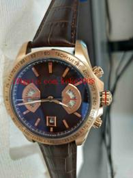 мужские золотые браслеты Скидка Роскошные высококачественные наручные часы CAV514C.FC8171 43мм Carrera 18k розовое золото кожаные ремешки ремешок VK Кварцевый хронограф рабочие мужские часы