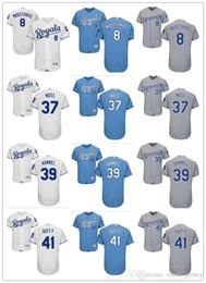 costumbre Hombres mujeres jóvenes KC Royals Jersey # 37 Brandon Moss 41 Danny Duffy 39 Jason Hammel 8 Mike # Moustakas camisetas de béisbol desde fabricantes