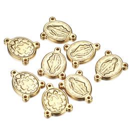 aço inoxidável do diy do encanto Desconto 50 pçs / lote prata / ouro cor de aço inoxidável Jesus encantos conectores para jóias católica rosário peça central oval pingente para DIY Peças