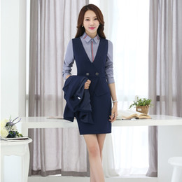 Wholesale Women Working Skirt Suits - Two Piece Sets Women Business Suits with Skirt and Vest Waistcoat Sets Ladies Work Wear Office Uniform Styles