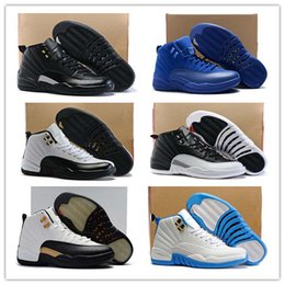 Wholesale womens boots 12 - Top Quality 12 XII Basketball Shoes Royal Blue Suede 12s Premium Deep Blue Suede Mens Basketball Sneakers womens Athletics Boots