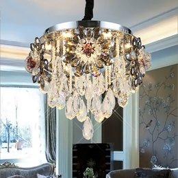 Wholesale Used Chandelier Crystals - European Crystal Chandelier Circular Led Ceiling Lamp Atmosphere Room Lamp Warm Room ceiling Lights Restaurant Suction Double Use Lamp