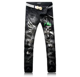Wholesale vintage street lights - Hot Sale Fashion Men's Jeans Human Skeleton Skull Snake and Aliens Printing Street High Quality Male Jeans Trousers Men's Size 28-38