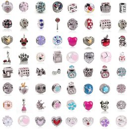 Wholesale Fusing Silver - Mix 925 Silver Beads Charm Crystal Rhinestone Heart Flower European Beads Jewelry Women DIY Gift Free Shipping