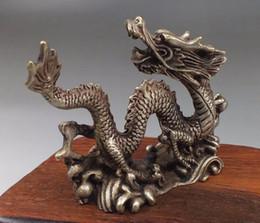estátua de prata chinesa Desconto Bronze chinês prata esculpida sorte dragão estátuas