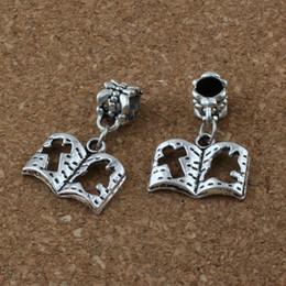 Wholesale bead books - MIC . 100pcs lot Dangle Antiqued Silver Alloy Cross Book Charm Big Hole Bead Fit Charm Bracelet Jewelry 17x 26mm A-180a