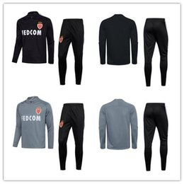 Wholesale Hoodies Pants Sports Wears - TOP QUALITY 2017 18Monaco survetement football FC tracksuits training soccer jacket hoodies sweatshirts +pants mbappe sports wear sets
