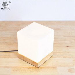Wholesale wooden base lamp - New Modern Table Lamp Cube Glass Lampshade Wooden Base Key Switch Dimmer Switch E27 Read Light For Study Bedroom Foyer Lighting
