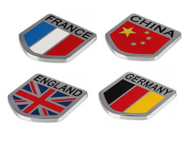 Alliage de zinc porcelaine en Ligne-Haute Qualité 65 * 65mm Zinc Alliage Car Styling Sticker Allemagne Flag Angleterre Chine France Drapeau Union Jack