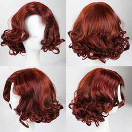 Wholesale Wavy White Cosplay Wig - Short Red Synthetic Hair Wig Wavy Synthetic Wigs for Black Women White Women Ladies Daily Party Cosplay Wig African American Wigs