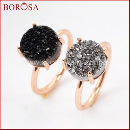 Wholesale gold drusy ring - whole saleBOROSA 2018 Size 6&7 Rose Gold Color Claw Silver 10mm Round Titanium Druzy Ring for Women, New Drusy Ring Gems Jewelry ZG0235