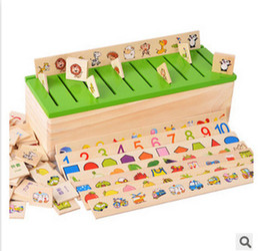 Wholesale Wood For Children - New Fashion Montessori Knowledge Classification Box Montessori Materials Learn-checkers Toys for Children Wood Box Free Shipping