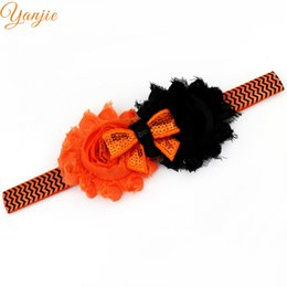 Wholesale Halloween Shabby - 10pcs Lot 2017 Halloween Headbands Girls And Kids Mini Sequin Bow Two Shabby Flowers Headwear Elastic Headbands