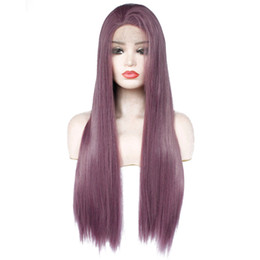 Wholesale Dark Purple Wigs - New Sexy Cosplay Dark Purple Wig Glueless Synthetic Lace Front Wigs New Long Straight Replacement Hair Lavender Violet Heat Resistant Fiber
