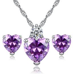 Wholesale White Gold Ruby Earrings - Zircon Crystal Jewelry Sets Fashion Heart Pendants Necklaces Stud Earrings White Gold Plated Ruby Jewelry Sets For Women